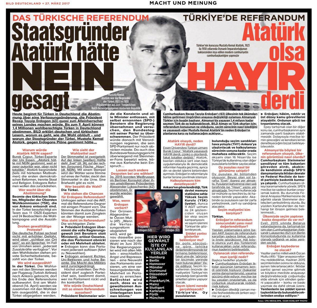 Alman Bild gazetesi: Atatürk olsa hayır derdi
