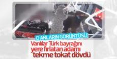 Erciş'te Türk bayrağına çirkin saldırının görüntüsü