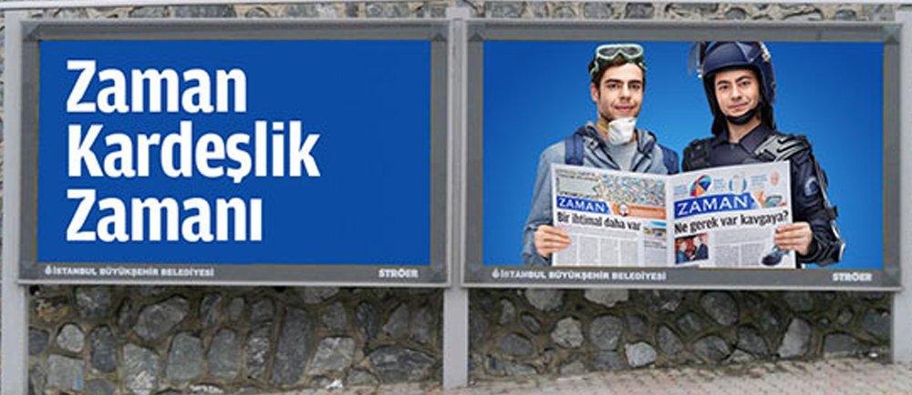 Zaman iddianamesi: Darbe mesajı reklam afişiyle verildi